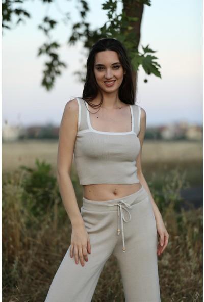 Sherin Kadın Bej Triko Atlet Çizgili Pantolon Takım SWTK2076-77BE