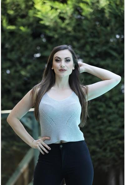 Sherin Kadın Mint Örgü Desen Triko Basic Atlet SWA2014MI