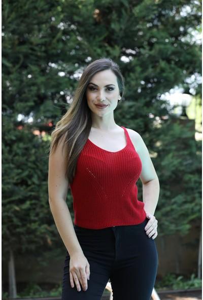Sherin Kadın Kırmızı Örgü Desen Triko Basic Atlet SWA2014KI