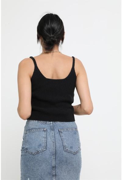Sherin Kadın Siyah Fitilli Basic Triko Crop SWA2071Sİ
