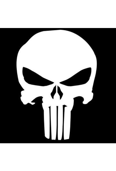 smoke Punisher Marvel Beyaz Otomobil Araç Için Sticker