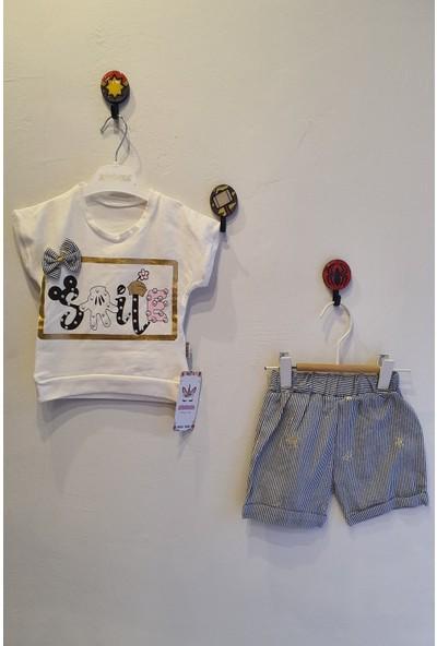 Minidoll Kız Bebek 6-18 Ay Smile Baskılı Taşlı Ikili Takım