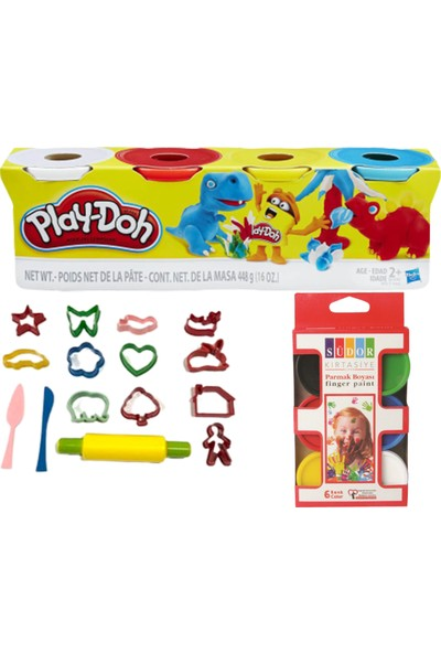Play-Doh 4'lü Oyun Hamuru Kalıp ve Parmak Boyası