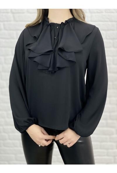 Siyah Pileli Şifon Gömlek