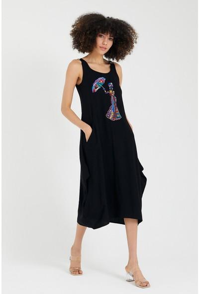 Vale Woman Valewoman Deri Askı Detaylı Nakışlı Cepli Kadın Viskon Elbise   Etnik Elbise  