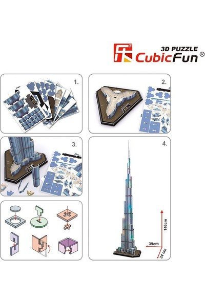Cubic Fun 3d- 3 Boyutlu Puzzle Burj Halife Binası - Dubai (Led Işıklı)