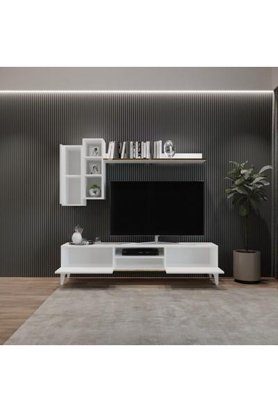 Tocco 1051 Mahur Modern Kitaplıklı Raflı Sehpa Tv Ünitesi