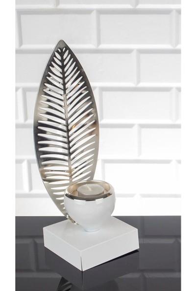 Zeyve Roma Serisi Mumluk Palmiye 28 cm Beyaz Gümüş