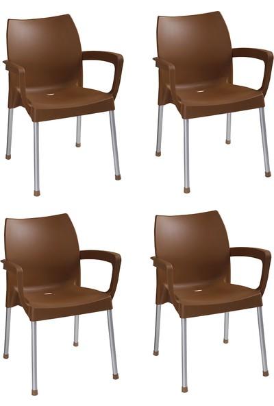 Romanoset Hilal Kollu Metal Ayaklı Plastik Sandalye 4 Lü Set Kahverengi