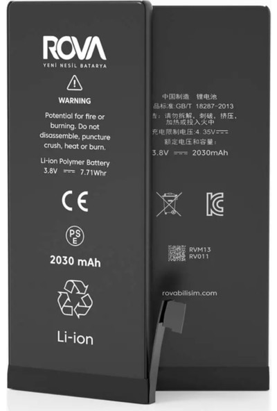 Rova iphone 6s Plus Batarya Yüksek Kapasiteli Amper Kvk Pil 3680mAh