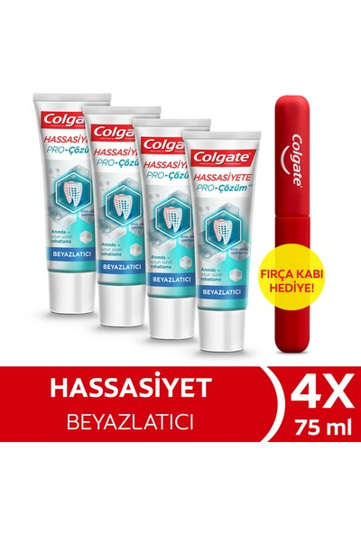 Colgate Hassasiyete Pro Çözüm Beyazlatıcı Pro Relief Diş Macunu 75 ml x 4 Adet + Fırça Kabı