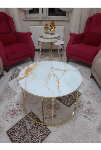 Dıamond Home Marsilya Camlı Orta Sehpa - Beyaz