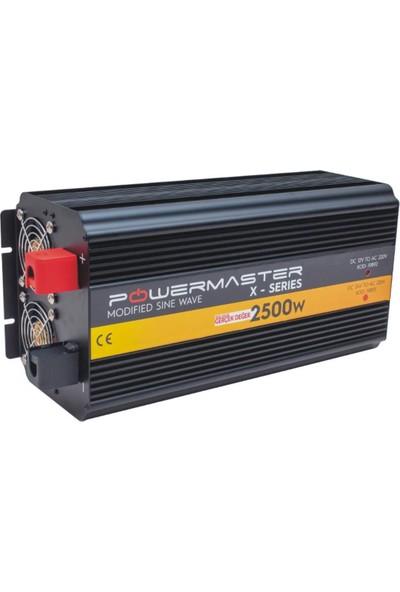 Powermaster PWR2500-12 Çift Digital Ekranlı 12 Volt 2500 Watt Modified Sinus Inverter
