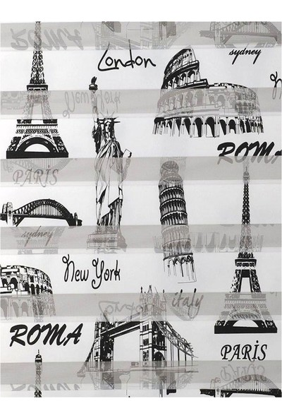 Asyhome Paris Desenli Zebra Perde Etek Dilimli