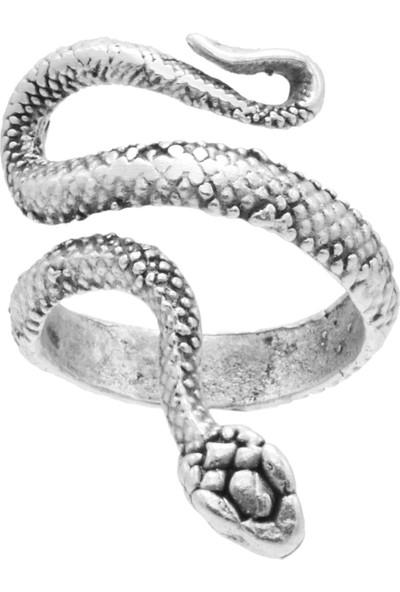 Labalaba Kadın Antik Gümüş Kaplama Ayarlanabilir Dolama Formlu Ince Yılan Yüzük