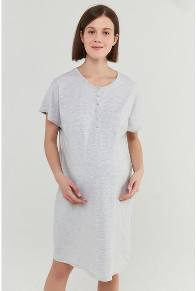 Penti Açık Gri Melanj Mama Henley Elbise