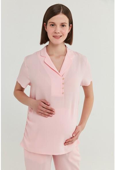 Penti Gül Kurusu Mama Pink Crinkle Gömlek Pantolon Takımı