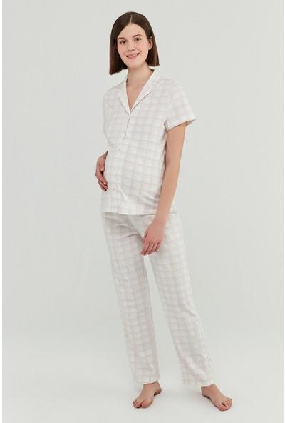 Penti Beyaz Mama Gingham Gömlek Pantolon Takımı