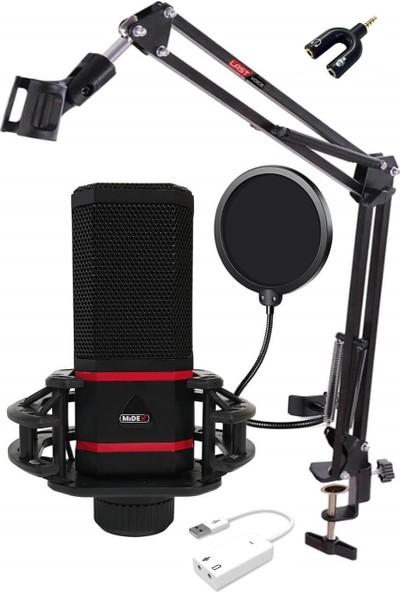 Midex MX-2020 PRO STF Çift Diyafram Condenser Mikrofon Stand Filtre