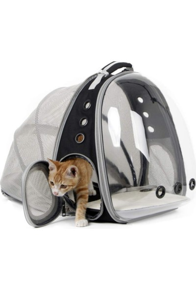 Ksburda Fileli Açılabilir Şeffaf Astronot Kedi Köpek Evcil Hayvan Taşıma Çantası