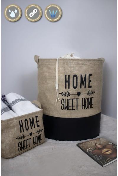 Rope Home 5'li Home Sweet Home Baskılı Rpjüt Kumaş Aile Seti