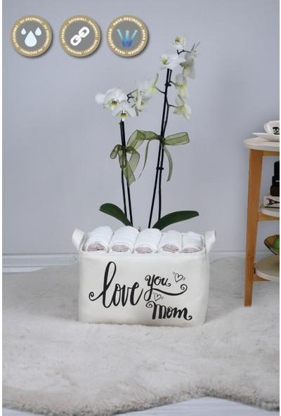 Rope Home Beyaz Love You Mom Dikdörtgen Sepet 18X22X30