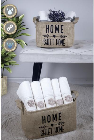Rope Home Jüt Home Sweet Home Dikdörtgen Sepet 15X25X18