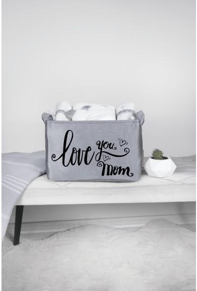 Rope Home Gri Love You Mom Baskılı Dikdörtgen Sepet 18X22X30
