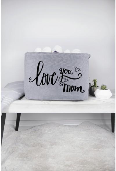 Rope Home Gri Love You Mom Baskılı Dikdörtgen Sepet 37X27X25