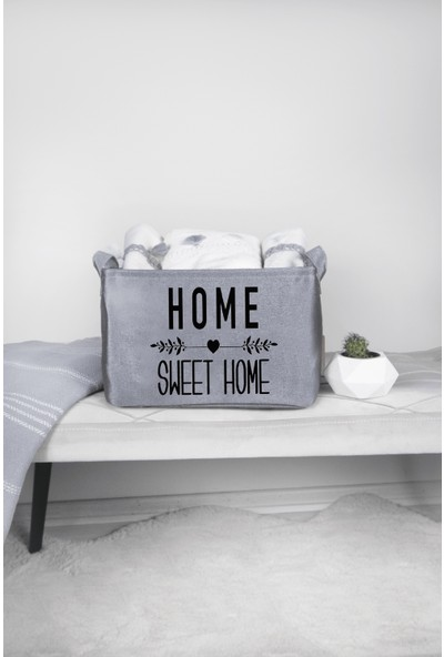 Rope Home Gri Home Sweet Home Dikdörtgen Sepet 18X22X30