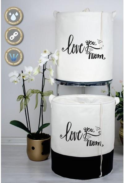 Rope Home Beyaz Kumaş Love You Mom Baskılı Sepet 37X42RPH