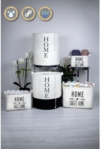 Rope Home Beyaz Renk Home Baskılı Sepet