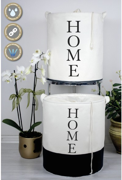 Rope Home Beyaz Renk Altı Derili Home Baskılı Sepet 37X42