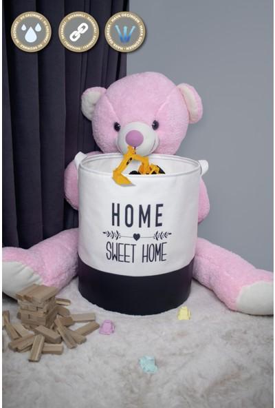 Rope Home 2'li Home Sweet Home Baskılı Beyaz Silindir Sepet