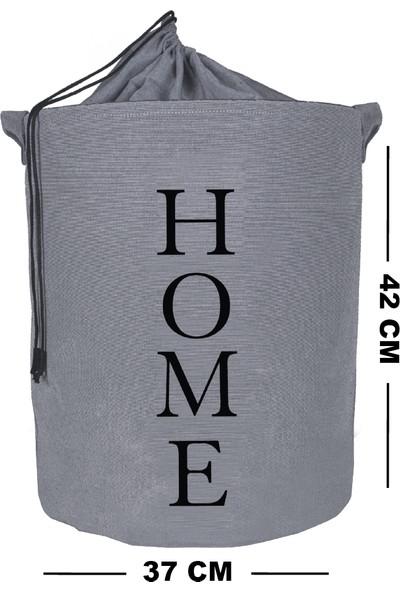 Rope Home Gri Renk Home Baskılı Sepet 37X42