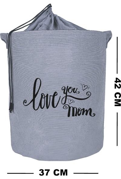 Rope Home Gri Renk Love You Mom Baskılı Çamaşır Sepeti