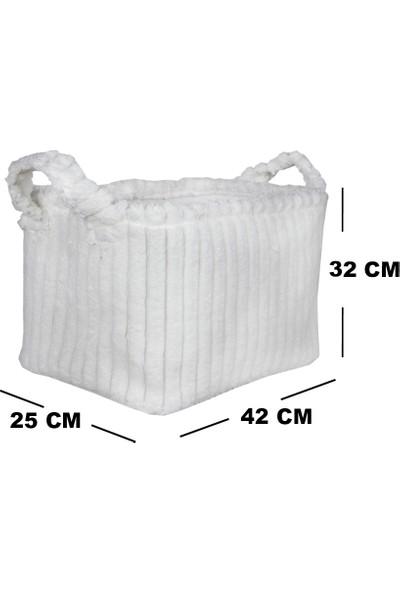 Rope Home Beyaz Kadife Dikdörtgen Sepet 27X37X25