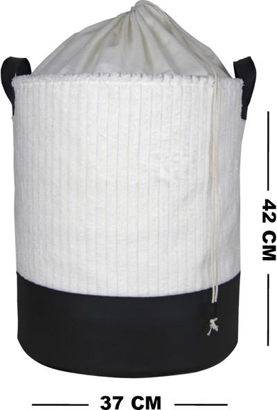 Rope Home %100 Pamuk Kadife Beyaz Silindir Sepet 37X42