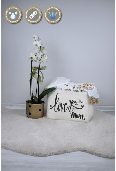 Rope Home 3'lü Beyaz Love You Mom Baskılı Sepet Seti