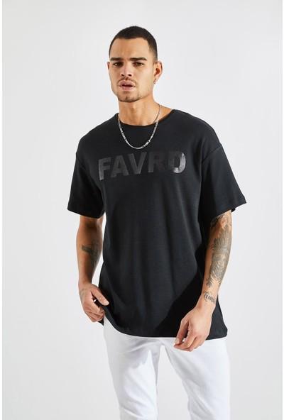 Zafoni Erkek Favrd Baskılı Oversize Siyah Tişört P-00008027