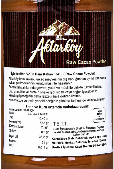 Aktar Köy Ham Kakao Tozu 150 gr