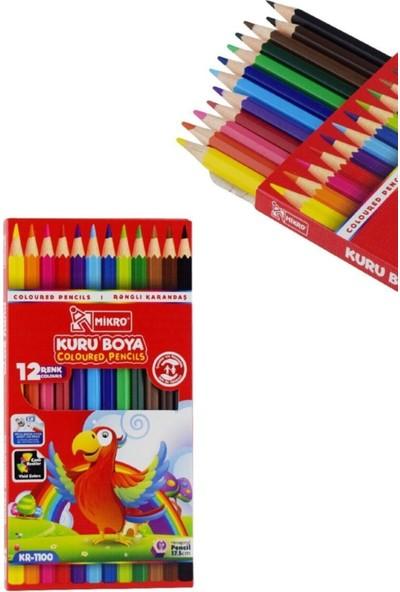Mikro Boyama Seti Kuru Boya, Sulu Boya, Pastel Boya ve Keçeli Kalem Ürünler 12'li Pakettir