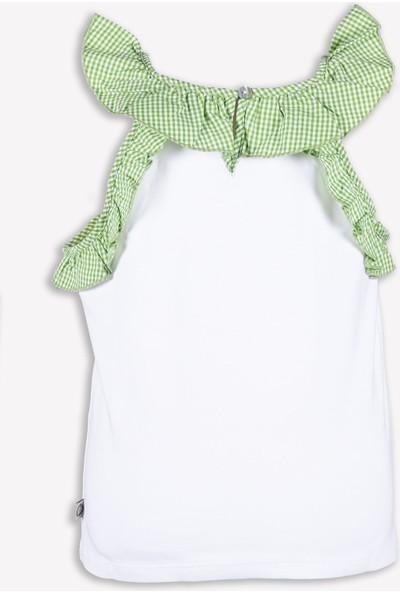Ozmoz Fırfırlı Askılı Yeşil Beyaz Yazlık Kız Çocuk Bluz
