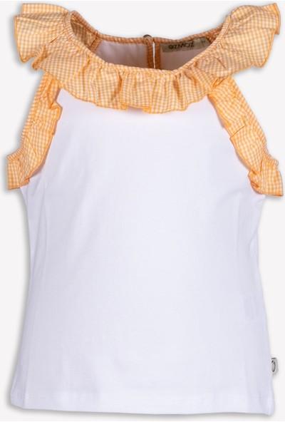 Ozmoz Fırfırlı Askılı Turuncu Beyaz Yazlık Kız Çocuk Bluz