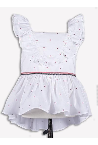Ozmoz Fırfırlı Beyaz Yazlık Kız Çocuk Bluz