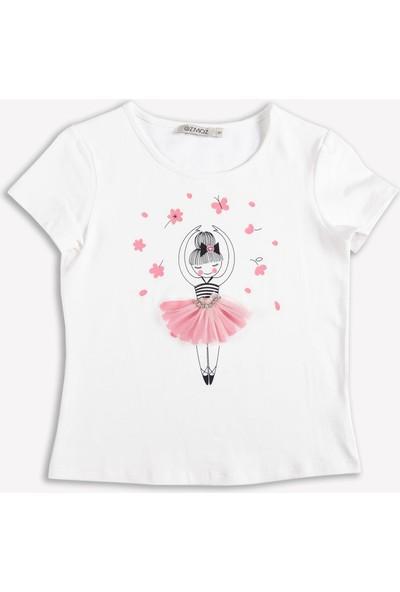 Ozmoz Balerin Baskılı Beyaz Kız Çocuk T-Shirt
