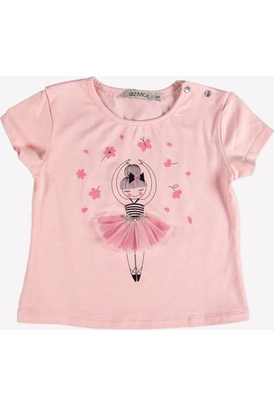 Ozmoz Balerin Baskılı Kız Çocuk T-Shirt - Pembe