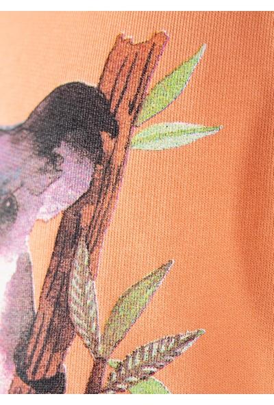 Ozmoz Organik Kız Çocuk Kuala Baskılı Sweatshirt - Turuncu