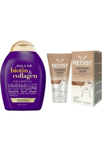 Organix Biotin Collagen Şampuan 385 Ml+Redist Lightening Cilt Beyazlatıcı Krem 75 ml