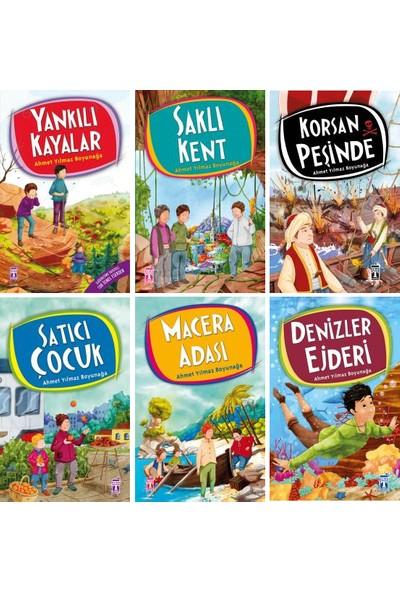 Ahmet Yılmaz Boyunağa 6 Kitap Macera Seti - Yankılı Kayalar - Saklı Kent - Korsan Peşinde - Satıcı Çocuk - Macera Adası - Denizler Ejderi